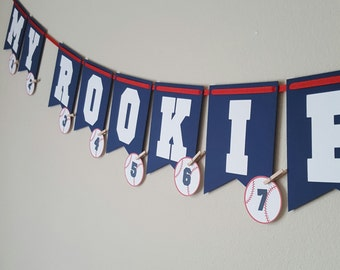 Baby Baseball Banner, My Rookie Year, 1st Birthday Banner, First Birthday Photo Banner, Baseball First Year Banner, Baseball Birthday
