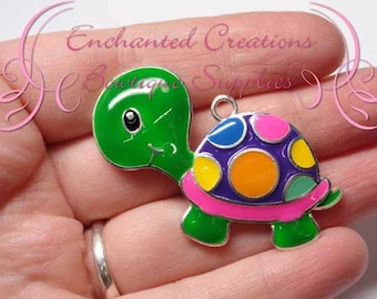 "2"" Green Rainbow Dot Turtle Charm, Animal Chunky Pendant, Bookmark, KeyChain, Bookmark, Zipper Pull, Planner Charm, Purse Charm"