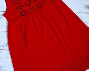 Bright red dress valentine's day dress red valentine's dress size 10 sleeveless dress girls red dress size 10 girls valentine dress