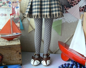 Taupe grey Blythe socks with white dots Doll stockings  Blythe clothes handmade in Paris France