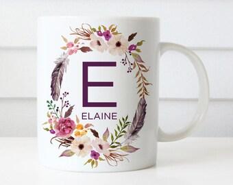Monogram Mug, Personalized monogram name mug, initial mug, Bridesmaid Gift, Floral Mug, Custom name Mug, Wedding Gift, Anniversary Gift