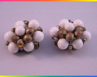 Vintage Clip Earrings Faux Pearl and Gold Berry Cluster, Made in Japan