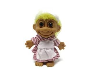 Candy Striper Troll - Nurse Troll -  CollectibleTroll - Yellow Haired Troll - Nurse Gift - Nurse Aid - Russ Trolls - Vintage Trolls