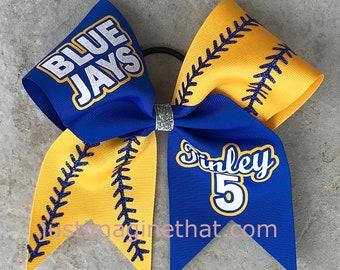"3""x7""x7"" Width Tick Tock Custom Softball Bow Your Choice of Colors & Sayings"