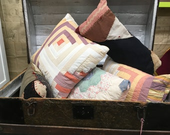 Old quilt Pillows from vintage & antique patterned, crazy quilts. Great winter warmth decor and gifts for quilt lovers. I do custom work!