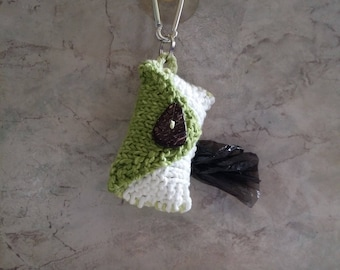 Dog Poop Bag Dispenser Knit Cotton Poop Bag Holder 2 toned Greenand White  Color Handknit Cotton Knit Fabric Coconut Button Metal Carabiner