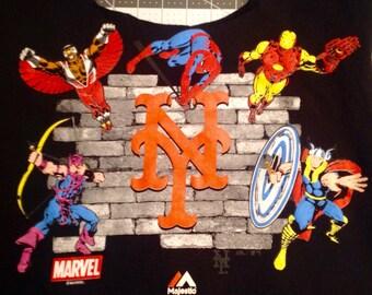 MARVEL COMICS New York Mets Tote Bag Handmade T Shirt Tote  Market Bag WASHABLE Tote Bag Reusable Bag Upcycled Repurpose Marvel Superheroes