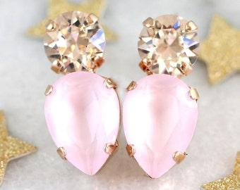 Pink Earrings, Rose Quartz Bridal Earrings, Swarovski Pink Stud Earrings, Powder Pink Earrings, Bridesmaids Earrings,Gift For Her