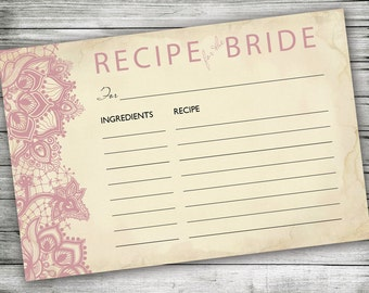 Recipe for the Bride Card ~ Bridal Shower, Pink Lace, Vintage Background, Printable 4x6, Rustic, Elegant Wedding Recipe Cards, Hostess Gift