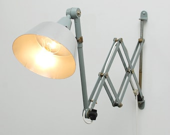 "Industrial vintage  workbench lamp  :""Accordeon Mitgard""."