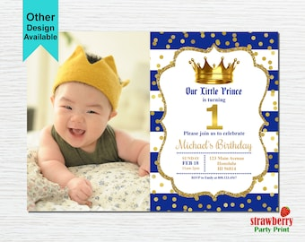 Boy crown invitation etsy prince birthday invitation with photo royal prince first birthday royal blue gold crown filmwisefo Choice Image