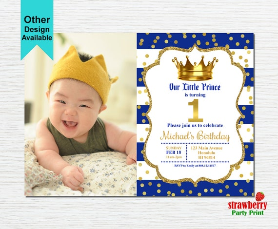 Prince Birthday Invitation with Photo Royal Prince First