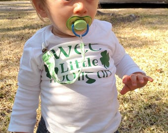 St. Patrick's Day Shirt/ Wee Little Hooligan/ Toddler Shirt/ Holiday Shirt/ St. Patty's Day/ Clover/ Green/ Irish/ Kids St. Patrick's Day