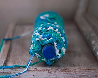 Water Bottle Holder Plarn Drink Carrier Reuse Crocheted Blue White Stripes Plastic Bag Yarn Shoulder Strap Earth Friendly Bottle Holder