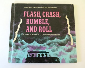 Flash, Crash, Rumble, and Roll, Franklyn M. Branley, Ed Emberley, 1964, Vintage 1960s Children's Thunderstorm Science Book