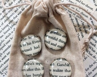 The Hobbit Magnets. Four Glass Magnets Made From Pages from 'The Hobbit' by JRR Tolkien. Literary Gift.