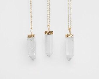 Large Quartz Crystal Necklace / gold plated raw quartz pendant necklace