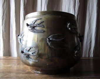 "Old antique metal pot holder with swallow birds ""art nouveau"""