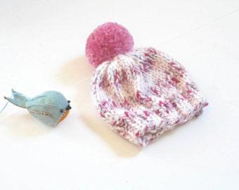 Newborn Baby Hat/Newborn Knit Cap/Hand Knit Newborn Hat/Chunky Knit Newborn Hat/Knit Baby Beanie/Newborn Baby Girl Hat