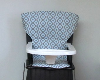 Newport style Eddie Bauer cushion or safety 1st wooden highchair cover, replacement feeding chair pad, kids furniture, blue and mocha