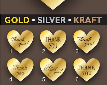 Gold Thank you stickers Heart Thank you labels Brown kraft stickers Gold Wedding favor stickers Envelope seal Gift Wrapping label