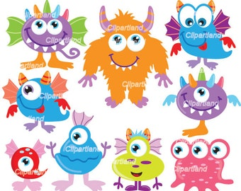 INSTANT Download. Cm_25_monsters. Cute monsters clip art. Personal and commercial use.