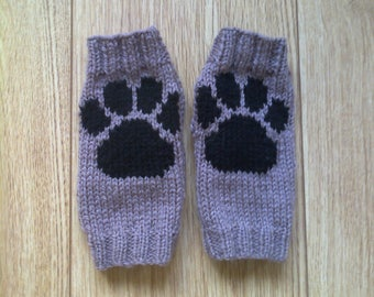 Wrist warmers - paw print - 10% to animal charity - fingerless gloves