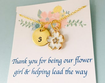 Flower Girl Necklace, Thank you for being my flower girl, Flower Girl Jewelry, Personalized Flower Girl Necklace,l