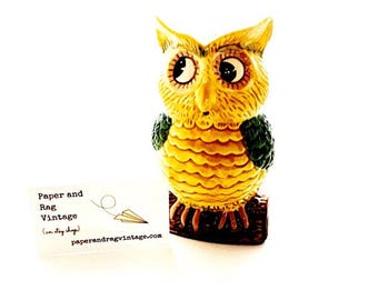 """Vintage OWL BANK: Glazed ceramic; 6"""" tall; Cute and kitschy collectible!"""