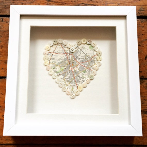 Vintage Map Button Heart- perfect gift for a wedding, engagement, civil ceremony, anniversary