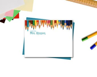 Personalized Flat Note Cards - Colored Pencils Note Card - Teacher Appreciation Gifts - Teacher Gifts - Personalized Note Cards for Teachers