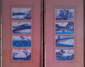 Set of eight vintage japanese woodblock prints Utawaga Hiroshige