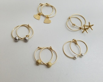 Tiny Hoop Earrings, Hoop Earrings Gold, Hoop Earrings with Charm, Gold Hoop Earrings, Tiny Gold Hoop Earrings, Kids Earrings