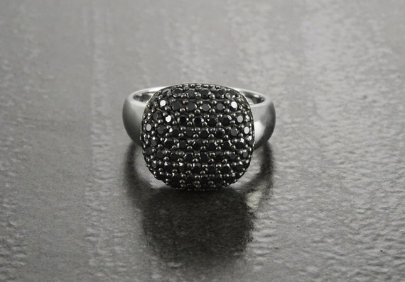 Black Diamonds Ring, Sterling Silver, Lab Diamonds, Engagement Ring, Micro Pave Ring, Cluster Ring, Valentines Day Gift, Mothers Day Jewelry