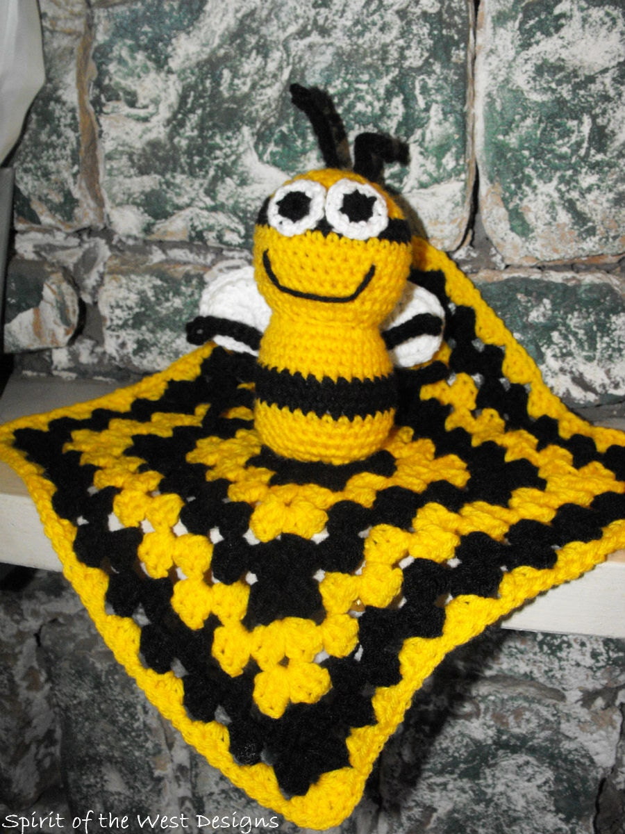 Crochet Pattern Bumblebee Lovey Snuggly Baby Blanket Granny Square ...