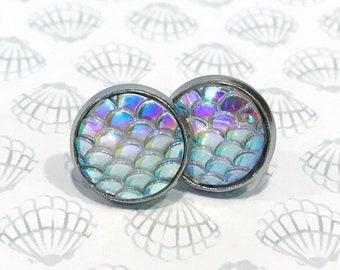 mermaid scale earrings, mermaid studs, earrings handmade, large stud earrings, 12mm earrings, summer stud earrings, jewelry handmade