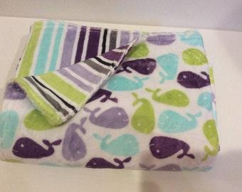 Whales Minky Blanket, Baby Blanket, Ocean theme Baby Blanket, Cuddly Baby Blanket