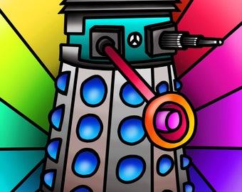 Funky Hippy Dalek - colourful fine art print by Amanda Hone