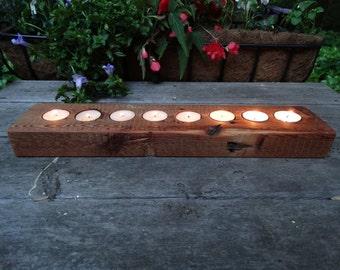 Rustic wood tea light holder - 8 light holder - Antique hemlock
