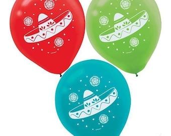 Set Of 6 Awesome Fiesta Sombrero Balloons in 3 Colors - Candy Buffet Backdrop  Beautiful Fun - Party Balloons - Cinco de Mayo!