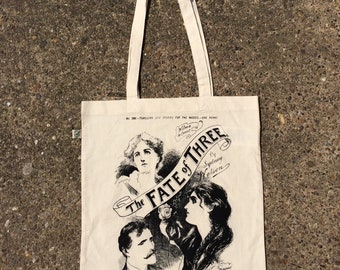 Screen Printed tote bag, 100 percent organic cotton tote bag in natural hand printed with an 1890's illustration using eco friendly ink