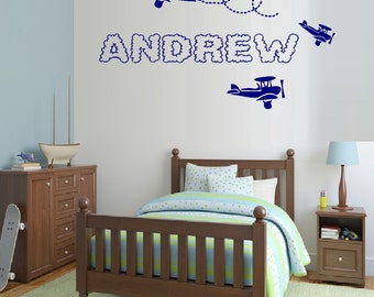 """Planes with Custom (Cloud) Name ~ 18"""" x 31"""" Wall Decal"""