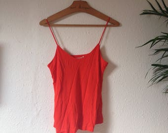 Bright Tomato Red Strappy Cami Vest Top V neck Minimal