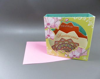 3D birthday card to ask flower mandala