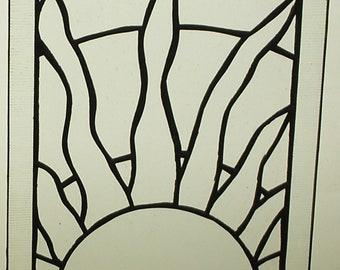 "August 10-7/8"" X 12-5/8"" Stained Glass Seasonal-Calendar Pattern PDF B&W Digital Download"