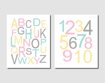 Alphabet Letters, Alphabet Art, Prints Or Canvas Wall Art, Alphabet Print, Pink Gray Nursery, Girl Nursery Decor, Playroom, Set of 2