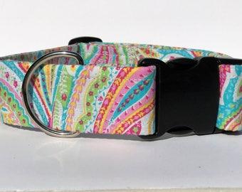 Multi-color girly dog collar, Paisley dog collar, Adjustable dog collar, Large dog collar, Dog collar, dog collar, Collar, Pet accessories