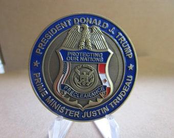 President Donald J Trump Prime Minister Justin Trudeau North American Border Alliance Challenge Coin