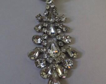 Vintage Clear Rhinestone Tear Drop Brooch Pin
