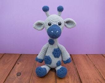 READY TO SHIP - Crochet Giraffe - Gray/Blue